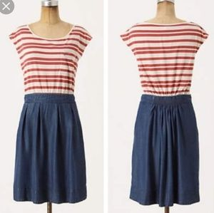Anthro Odille Readymade Dress Striped Chambray 6